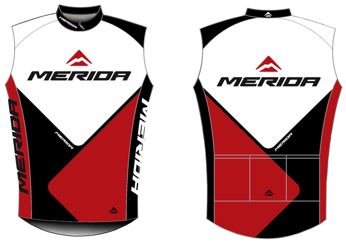 Mez MERIDA 2014 rövid 41 S ujjatlan piros/fehér/fekete végig zipzár Team replica