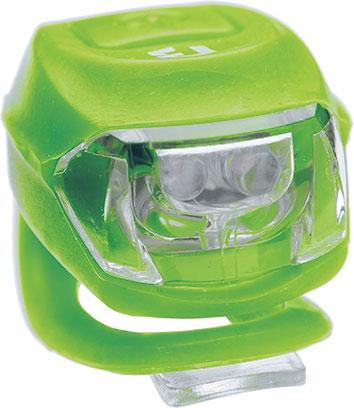 Lámpa BIKEFUN PIXIE első 2 fehér LED 2 funkció, szilikon, zöld