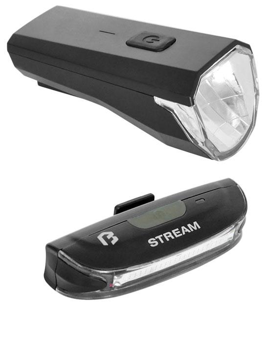 Lámpa BIKEFUN STREAM USB szett E+H fekete